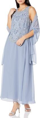 J Kara Women's Petite Beaded V Trim Detail Long Dress with Scarf