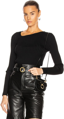 Loewe Ribbed Asymmetric Collar Sweater in Black   FWRD