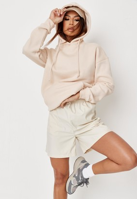 Missguided Petite Sand Basic Oversized Hoodie