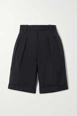 Giuliva Heritage Collection The Husband Pleated Grain De Poudre Wool Shorts - Navy