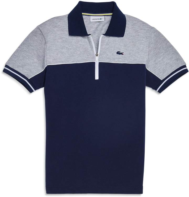Cotton Colorblock Polo Zip Pique Shirt ZPkiXu
