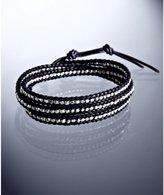 sterling silver beaded leather wrap bracelet