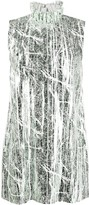 Halpern ruffled neck metallic sheen shift dress