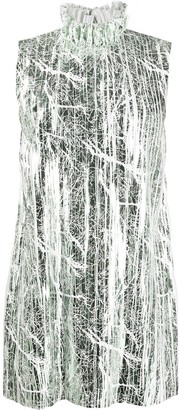 Halpern Ruffled Neck Metallic Sheen Shift Dress