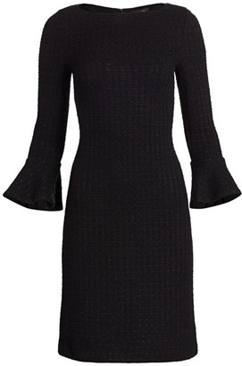 St. John Ribbon Textured Windowpane Bell-Sleeve Sheath