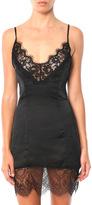 My Style Mode Lace Trim Satin Mini Dress