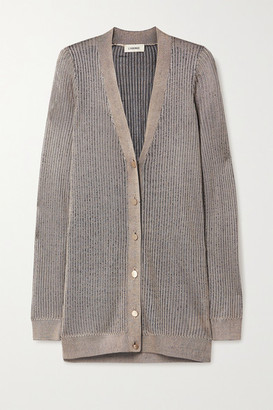 L'Agence Millie Ribbed-knit Cardigan - Taupe