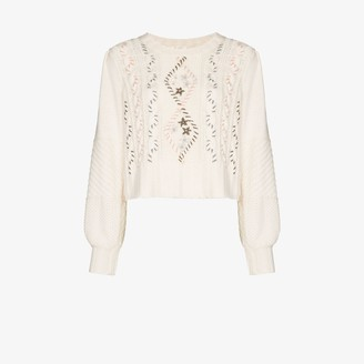 LoveShackFancy Leni cable knit floral sweater
