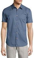 John Varvatos Micro-Print Short-Sleeve Sport Shirt, Blue