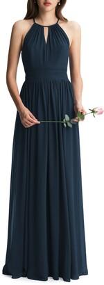 #Levkoff Keyhole Neck Chiffon A-Line Gown