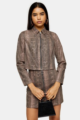 Topshop Womens Sand Snake Print Zip Fitted Jacket - Sand