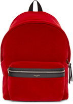 Saint Laurent Red Velvet Backpack