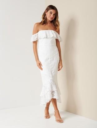 Forever New Emily Embroidered Off-Shoulder Dress - Porcelain - 10