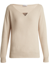 Brunello Cucinelli Monili-embellished ribbed-knit cashmere sweater