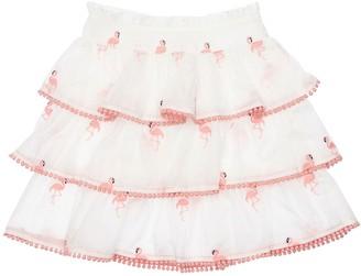 Zimmermann Flamingo Embroidered Cotton Skirt