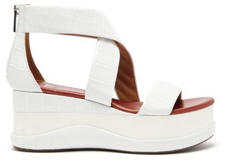 Chloé Crocodile-effect Leather Flatform Sandals - Womens - White