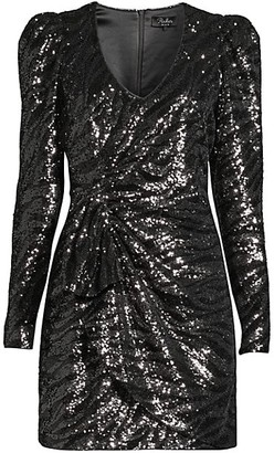 Parker Black Virginia Sequin Faux Wrap Dress