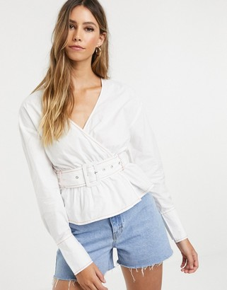 Neon Rose wrap blouse with belted waist