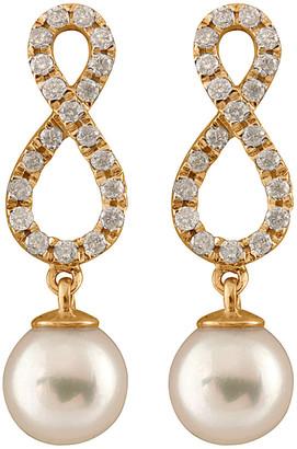 Masako Splendid Pearls 14K 0.40 Ct. Tw. Diamond & 7-7.5Mm Akoya Pearl Earrings