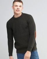 Brave Soul Fisherman Rib Jumper In Crew Neck