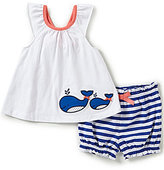 Starting Out Baby Girls Newborn-24 Months Whale-Applique Top & Striped Shorts Set
