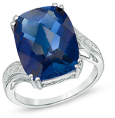 Zales Cushion-Cut Lab-Created Blue Sapphire and Diamond Accent Ring in 10K White Gold