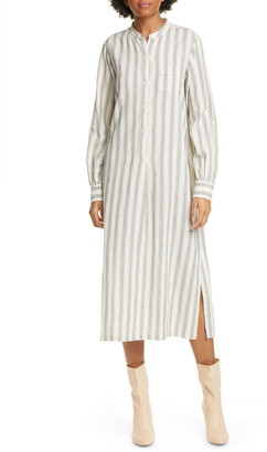 Nili Lotan Malia Long Sleeve Stripe Cotton & Linen Midi Dress