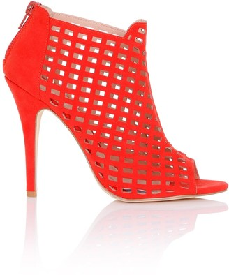 Paper Dolls Footwear Rani Red Caged Shoe Boots