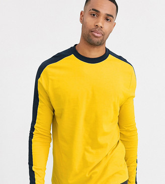 Asos Design DESIGN Tall organic long sleeve t-shirt with contrast shoulder panel in yellow