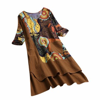 pitashe Women Vintage Linen T-Shirt Dress V Neck Patchwork Boho Dress Irregular High Low Hem Printing Half Sleeves Dress with Pockets Summer Holiday Sundress Black