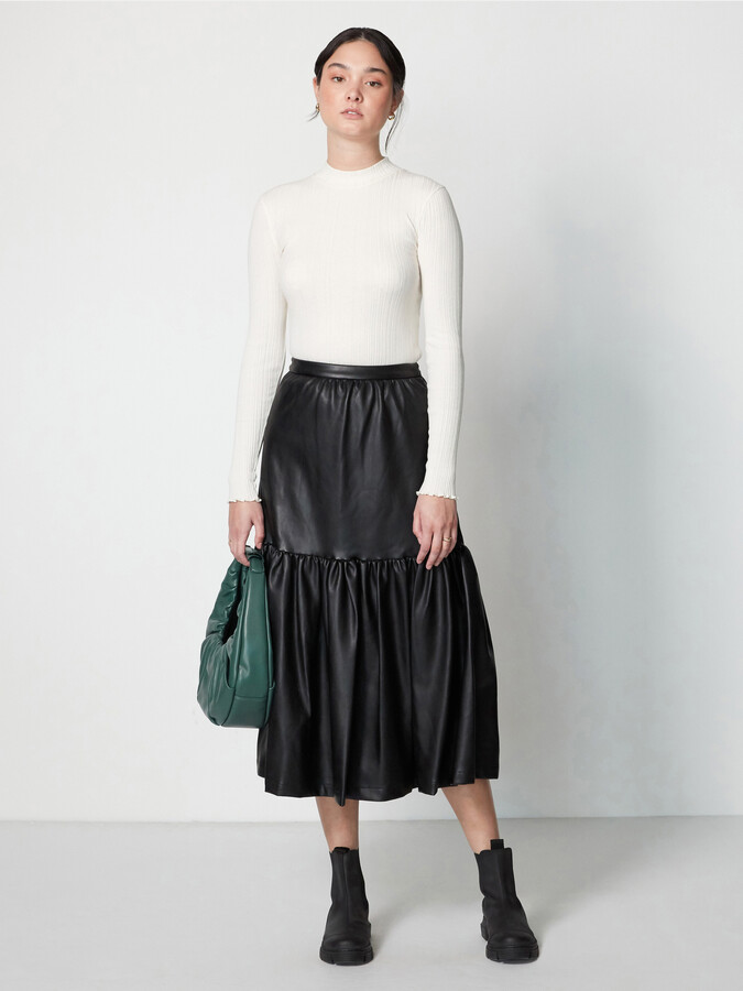 Thumbnail for your product : STAUD Orchid Vegan Leather Midi Skirt