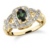 1/2 CT TW Mystic Topaz Yellow Silver Halo Ring with Diamond Accents by JewelonFire