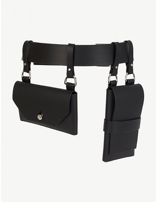 Fleet Ilya Double-pocket silver and leather belt