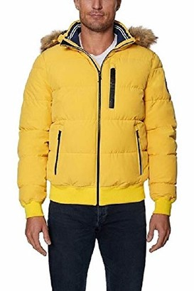 Nautica Men's Wind Resistant Puffy Bomber with Hood