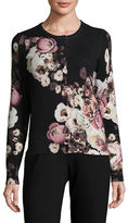 Lord & Taylor Floral-Printed Cashmere Cardigan