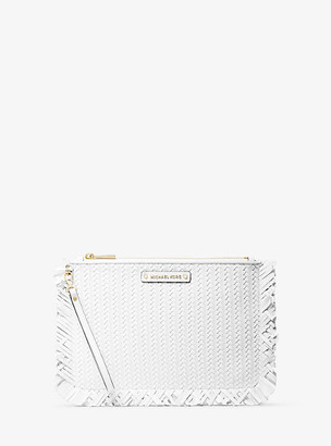 Michael Kors Large Woven Leather Pouch