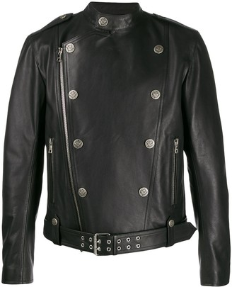 Balmain Button-Detail Biker Jacket