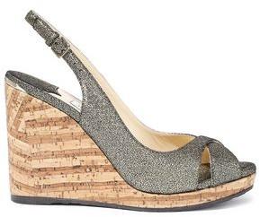 Jimmy Choo Amely 80 Metallic Cracked-leather Cork Wedge Sandals