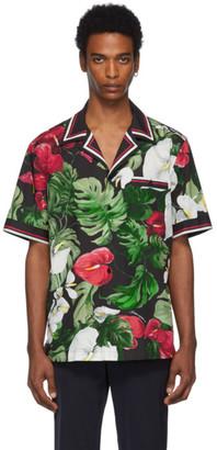 Dolce & Gabbana Black and Green Anthurium Hawaiian Shirt