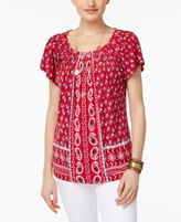 Style&Co. Style & Co Style & Co Petite Printed Pleated-Neck Top, Created for Macy's