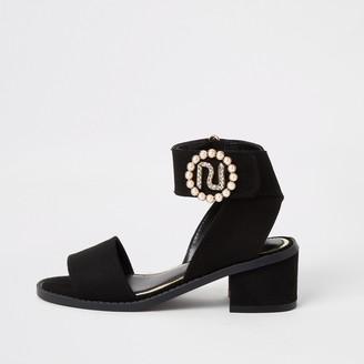 River Island Girls Black RI pearl heeled sandals