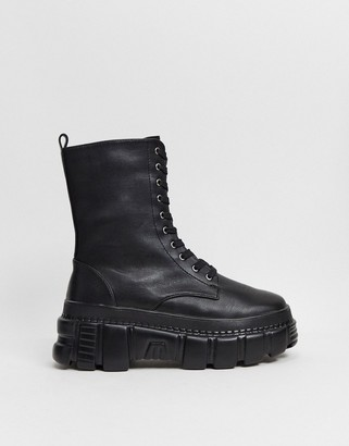 Public Desire Survivor chunky boots in black