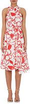 Nina Ricci WOMEN'S FLORAL SILK CREPE CRISSCROSS DRESS