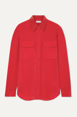 Equipment Slim Signature Washed-silk Shirt - Red