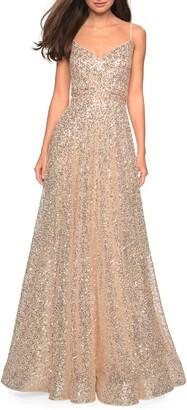 La Femme Sequin A-Line Gown