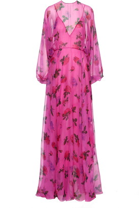 Valentino Rose Print Long Sleeve Silk Chiffon Gown