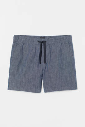 H&M Cotton Shorts Relaxed Fit - Blue