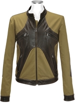 Forzieri Brown & Olive Italian Leather and Cotton Motorcycle Jacket