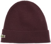 Lacoste Ribbed Beanie Burgundy