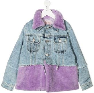 Natasha Zinko Kids Faux-Fur Panel Denim Jacket